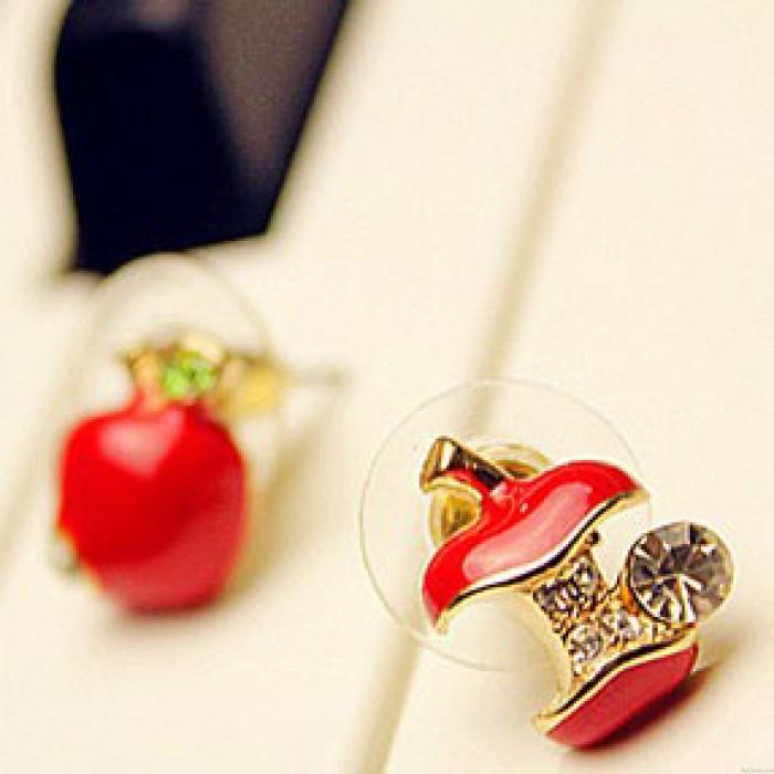Niedlich Asymmetrie Strass Apfel Ohrringe