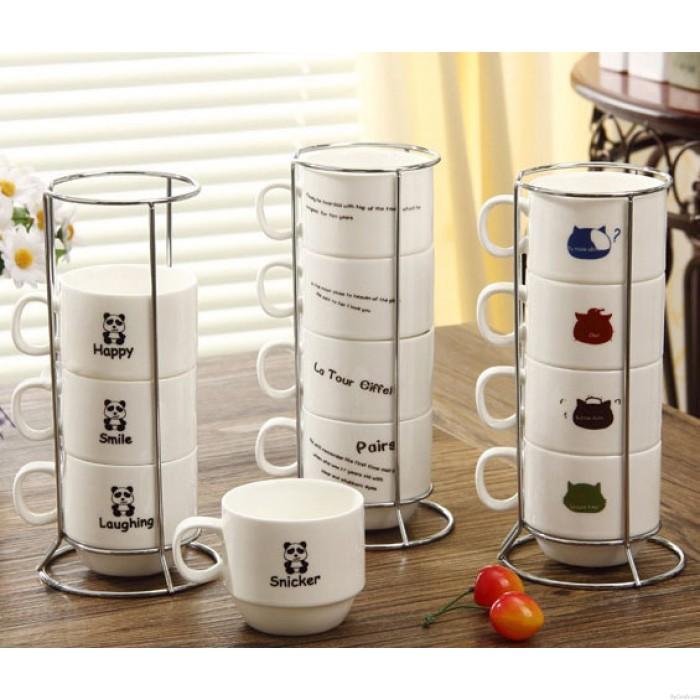 Kreatives Turm-Tiermuster vier Schalen stellten keramischen Becher / Cup ein