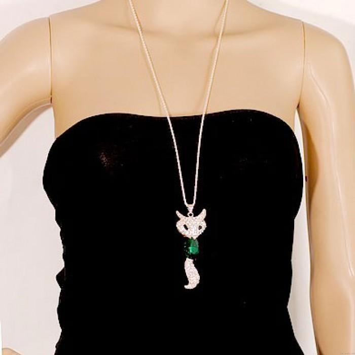 Cute Fashion Kristall Fuchs Strass Pullover Halskette