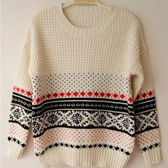 Einzigartige Vintage Pattern Weave Neck Sweater