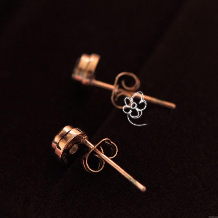 Mode Drill 18k Rose Gold Paar Ohrstecker