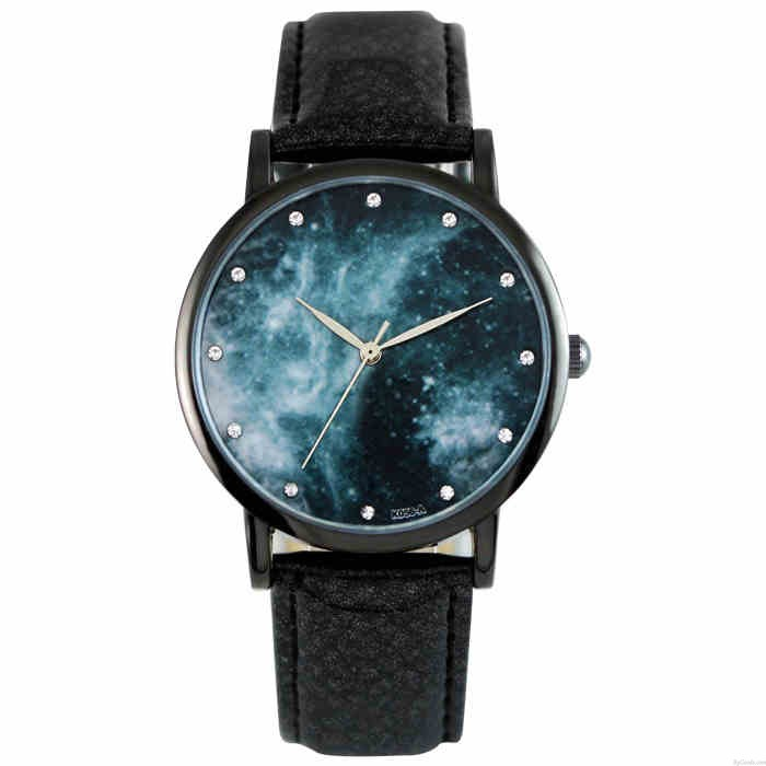 Mode Galaxie-Muster Diamant Metall-PU-Uhr