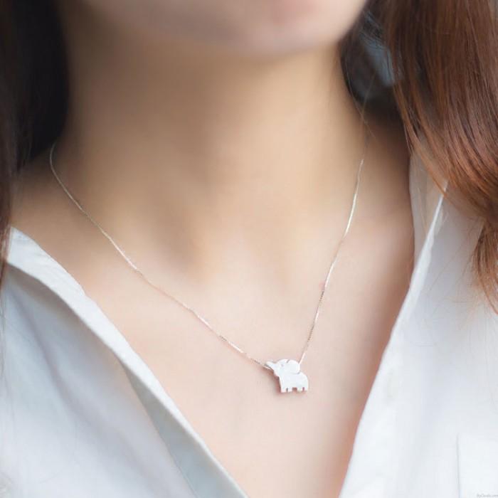 Süße Elefant Anhänger einzigartige Freundin Geschenk Silber Tier Halskette