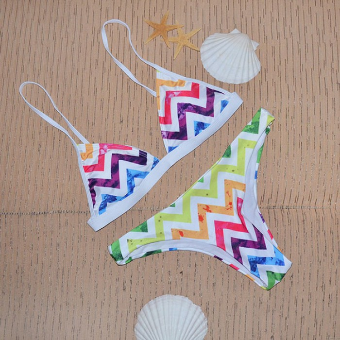 Winkel Muster Bademode Regenbogen Dreieck Bikini-Set Badeanzug