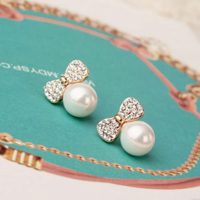 Perlen Bogen 925 Sterlingsilber Ohrring
