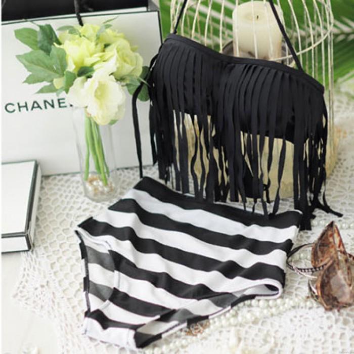 Anmutige schlanke Quaste Wire Padded Striped Badeanzug Bikini