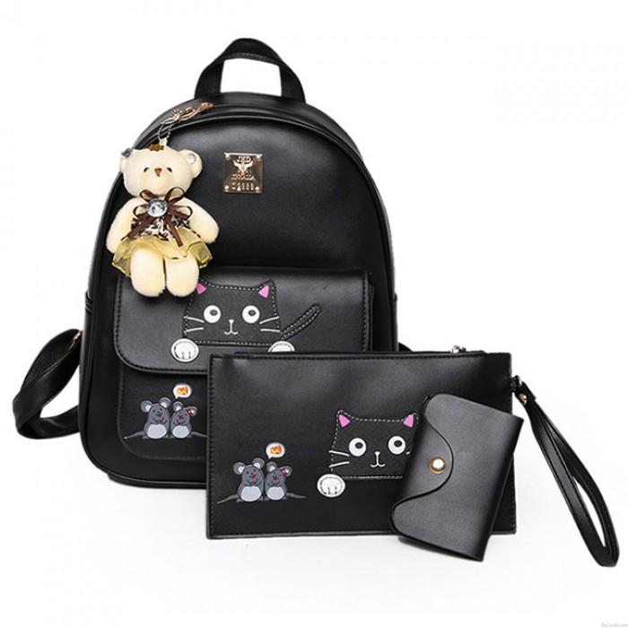 Niedlich Karikatur Schulranzen Geschenk Bär Puppe Maus Spleißen Katze PU Kitty Rucksack