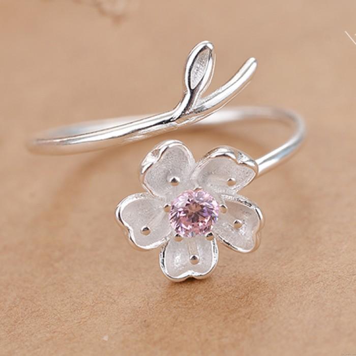Frische rosa Crystal Frosted Cherry Vivid Blume Zweig Mädchen offenen Ring