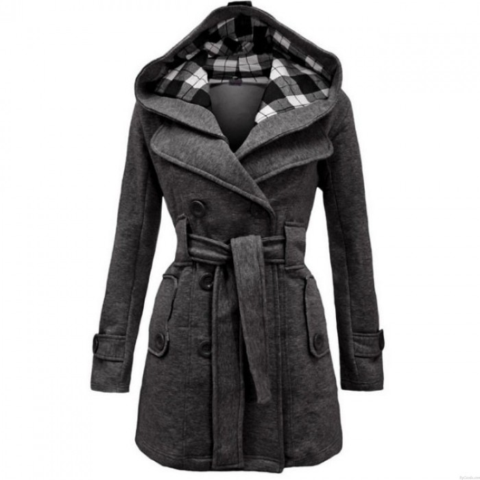 Mode Gitter Fleece Check Hoodie Doppel Frauen Brust Mantel Jacke Wintermantel