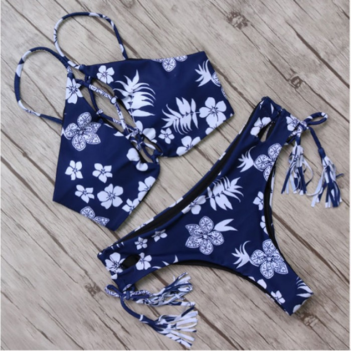 Quasten Bikini frische Blumendruck Gather Badeanzug