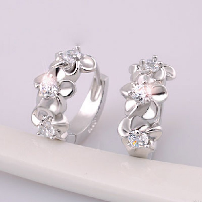 Edle Blumeneinlegearbeit -Kristall Sterling Silber Stilvolle Kreis-Ohrringe