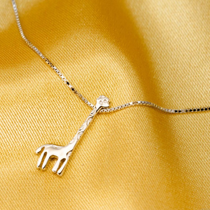 Nette silberne Giraffe Anhänger süßes Mädchen Geschenk Schlüsselbein Kette Tier verstellbare Halsketten