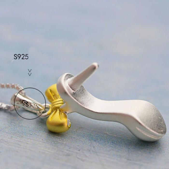 Einzigartige hochhackige Schuh Bowknot Anhänger Matt Silber Niedliche Schlüsselbein Frauen Kette Halskette