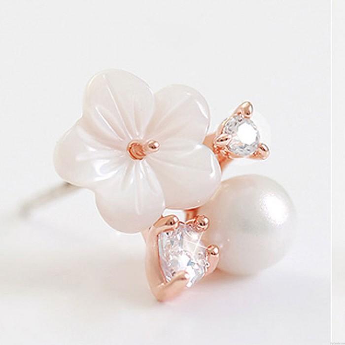 Frische Pflaume Blume Perle Strass Sterling Silber Ohrstecker