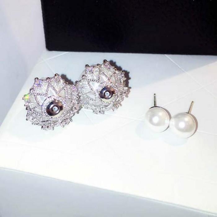 Mode gefrostet Perle Birne Diamant-umrandeten Silber Frauen Ohrstecker