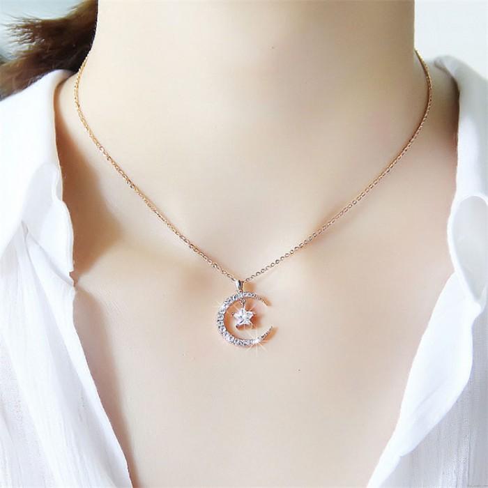 Mode Mond Sterne Kristall Anhänger Strass Frauen Halskette