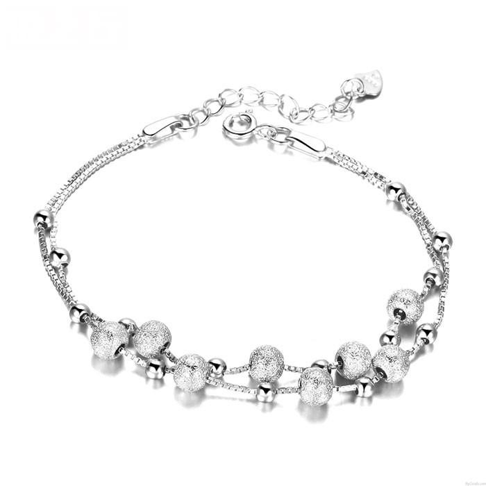 Lady Matte Rose Vergoldet Perlen Doppel Silber Kette Armbänder