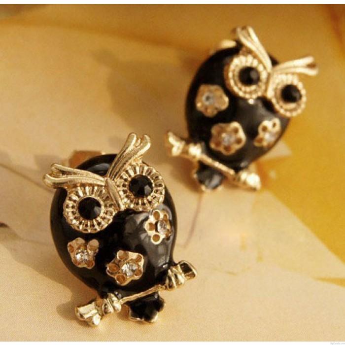 Nette schwarze Owl Hollow Blumen Ohrstecker