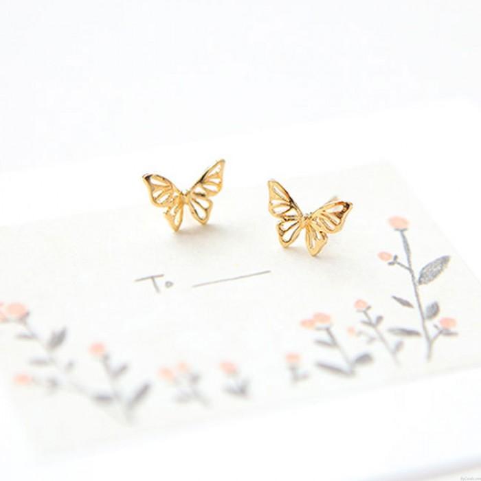 Niedliche Schmetterling Ohrringe Tier aushöhlen Silber Ohrstecker