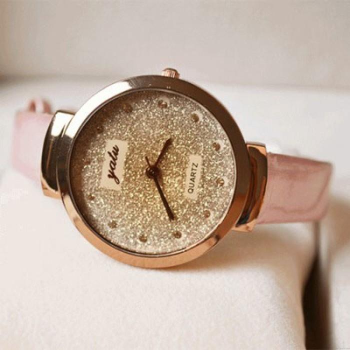 Blendend Gold Strass Leder Gurt Quarz Uhr