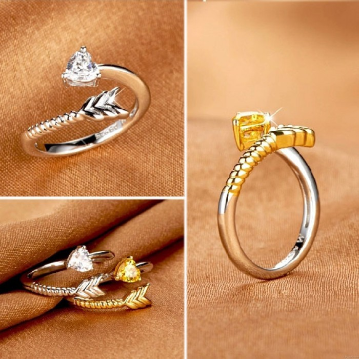 Einzigartige Pfeil-Herz-Silber-Öffnungs-Ring