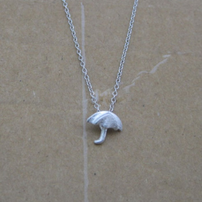 Hand Design Netter Regenschirm-Silber-Anhänger-Halskette