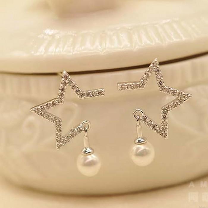 Mode Mädchen Ausgehöhlten Diamant-umrandeten Stern Perle Anhänger Silber Frauen Ohrstecker