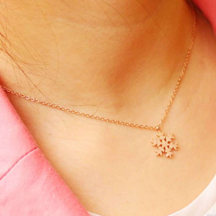 Mode Schnee Form Rose Gold Halskette