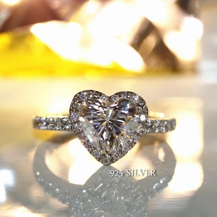 Romantische Liebe Herz Zirkon glänzende Hochzeit Schmuck Silber Diamant-Ring