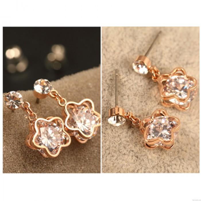 Glänzende UrsprünglichePflaume-Blumen-Diamant-Anhänger Ohrringe