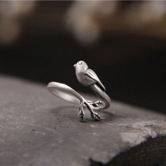 Retro Original Silber Vogel Baumblätter Tier Öffnen Ring