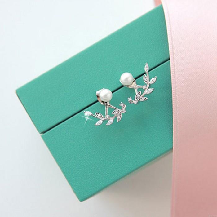 Mode Blätter Silber Perle Damen Ohrstecker