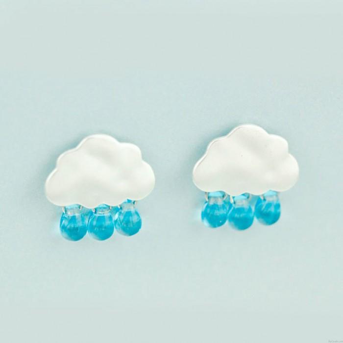Original 925 Silver Needle Nette Droplets Clouds Glass Ohrringe