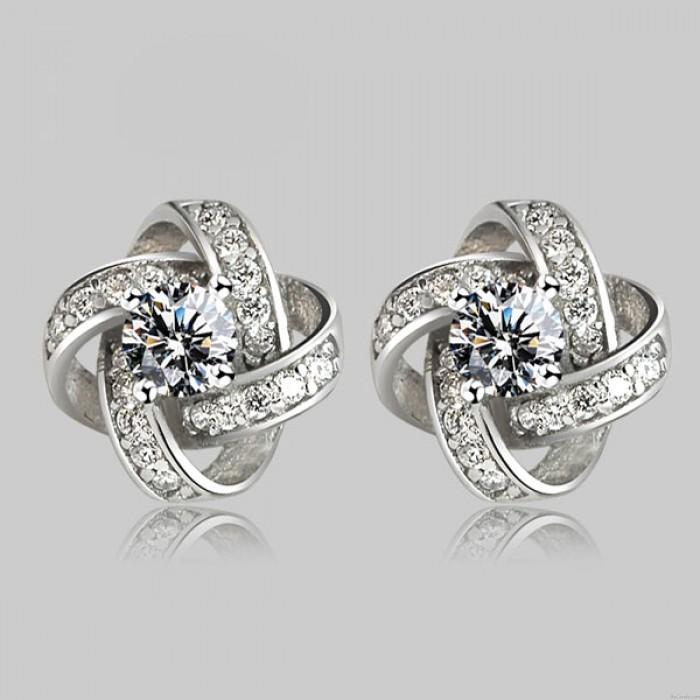 Helle Twine Clover Einlegearbeit-Diamant Stilvolle Silber Veranstaltungs Schmuck Ohrringe