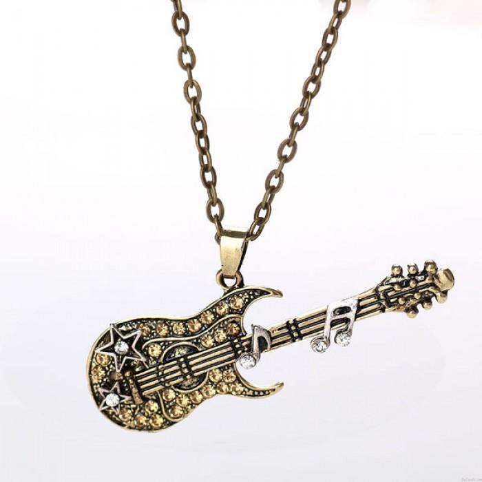 Mode rock musik Gitarre Bass Notizen Diamant-Anhänger Halskette