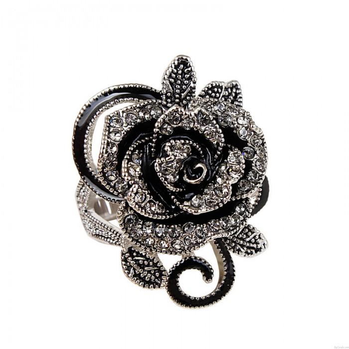 Niedliches Rosen-Schwarzes Blume Strass Ring