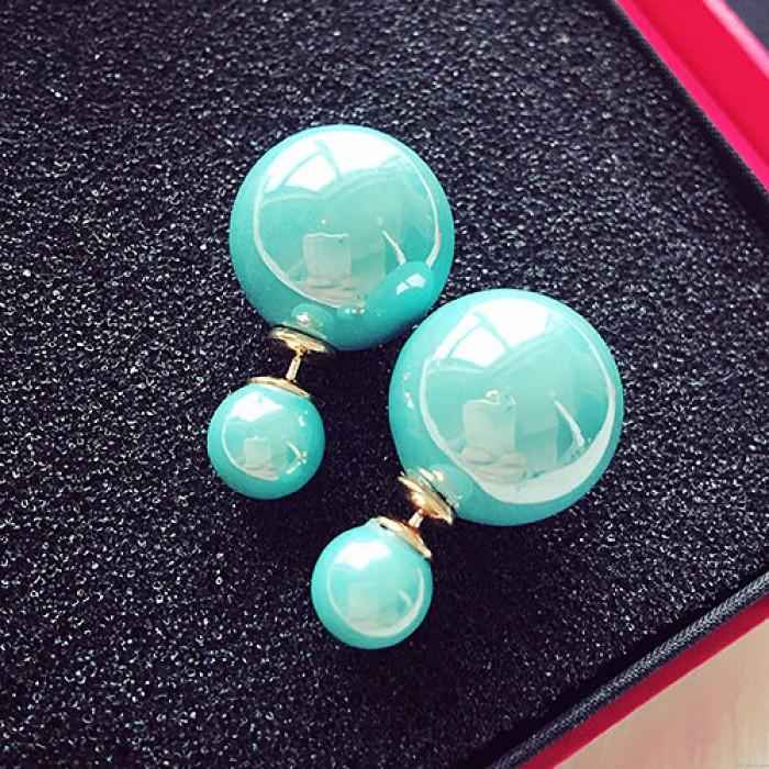 Mode reine weiße Perle Mädchen Ohrring Doppel Perle Ohrstecker
