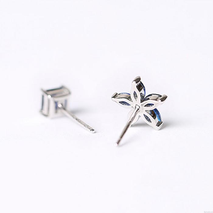 Mode 925 Silber Damen asymmetrische quadratische kleine Blumen blau Zirkon Allergie Silber Ohrringe Ohrstecker
