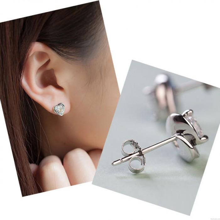 Lila Charme Diamantzircon Elegant herzförmigen Silber Ohrringe