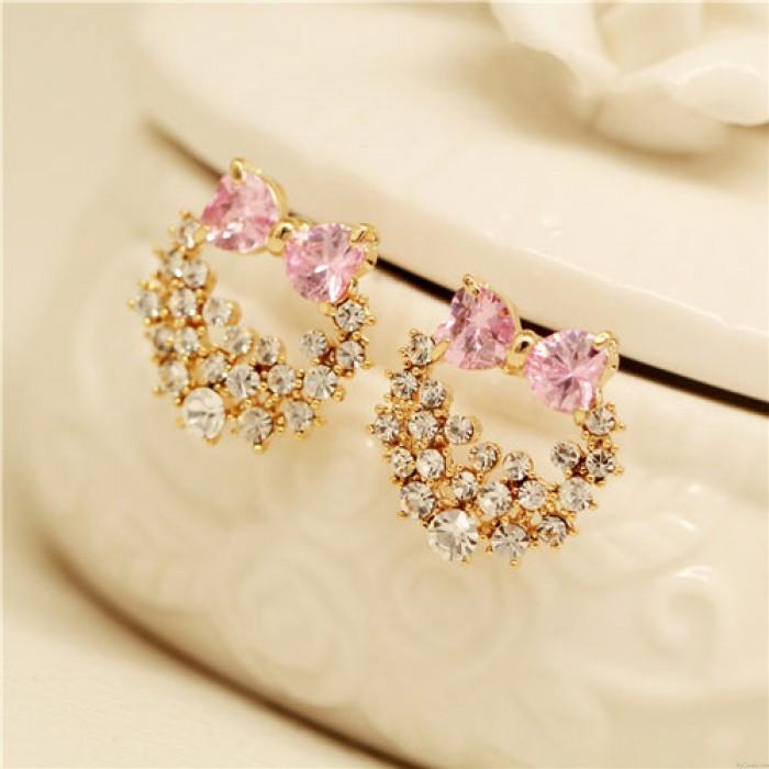 Stilvolle Silver Needle Lolita Kristallbogen-Shiny anadem Diamant-Ohrstecker