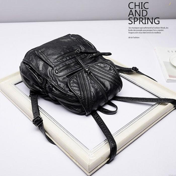 Cooles PU-weiches Leder gewaschene britische Art-Schwarz-Gewebe-Leder-Rucksäcke
