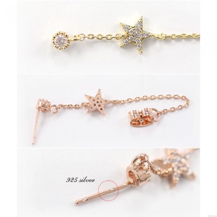 Weinlese-Diamant-Stern-Anhänger 925 Silber-Nadel Ketten Ohrringe