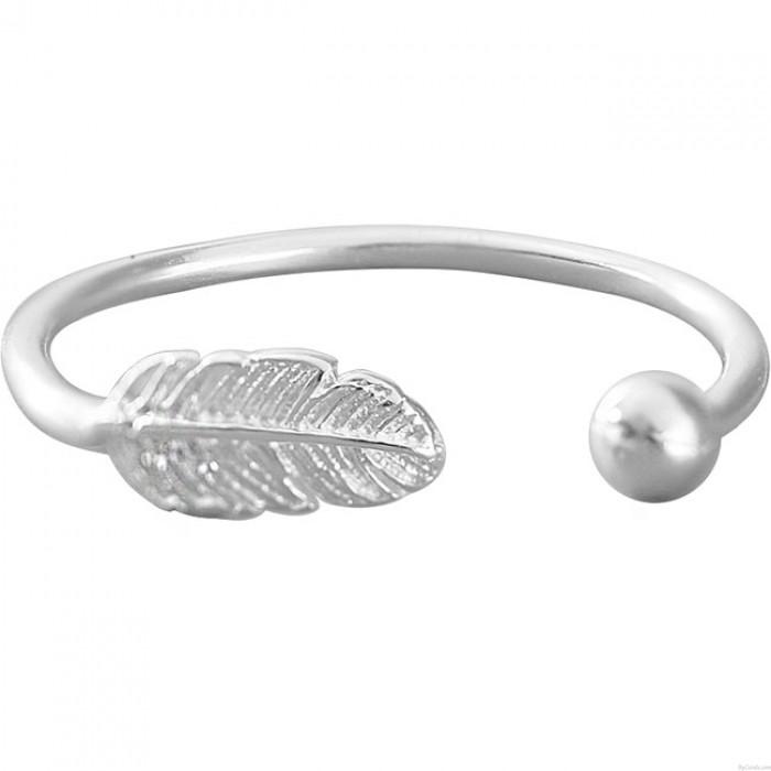 Kreativer handgemachter silberner Feder-offener Frauen-Ring