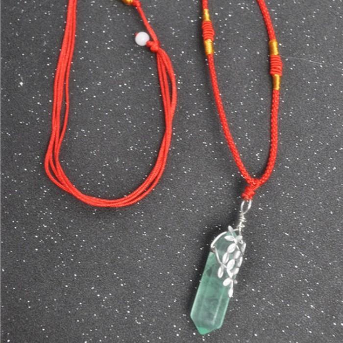 Einzigartige Silber Schlüsselbein verlässt Original handgemachte Crystal Green Fluorit Spalte Schmuck Halskette