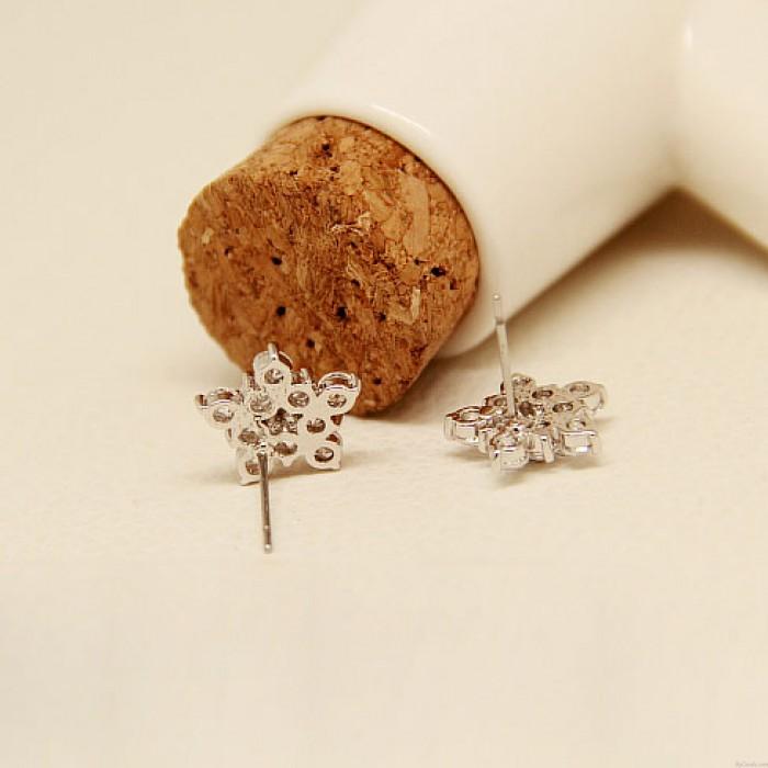 Kristallschneeflocke Silver Needle Bling stilvollen Ohrringe