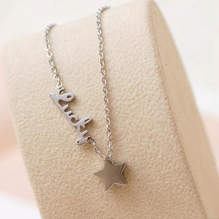 Brief Glücklich Star Vergoldete Halskette