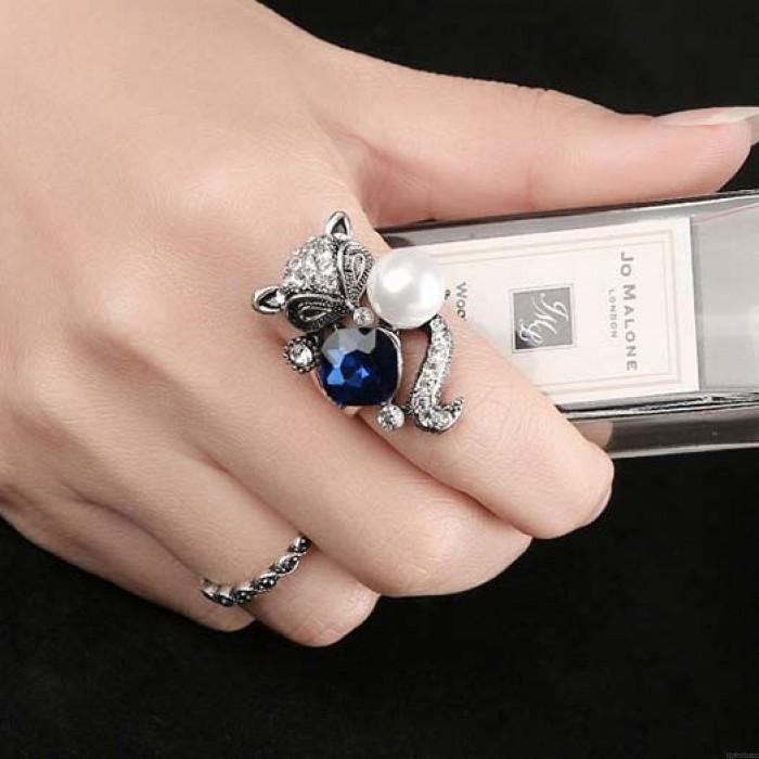 Niedliches blaues Kristallperlen-Fox-Ring-Tier zwei gesetzte Ringe