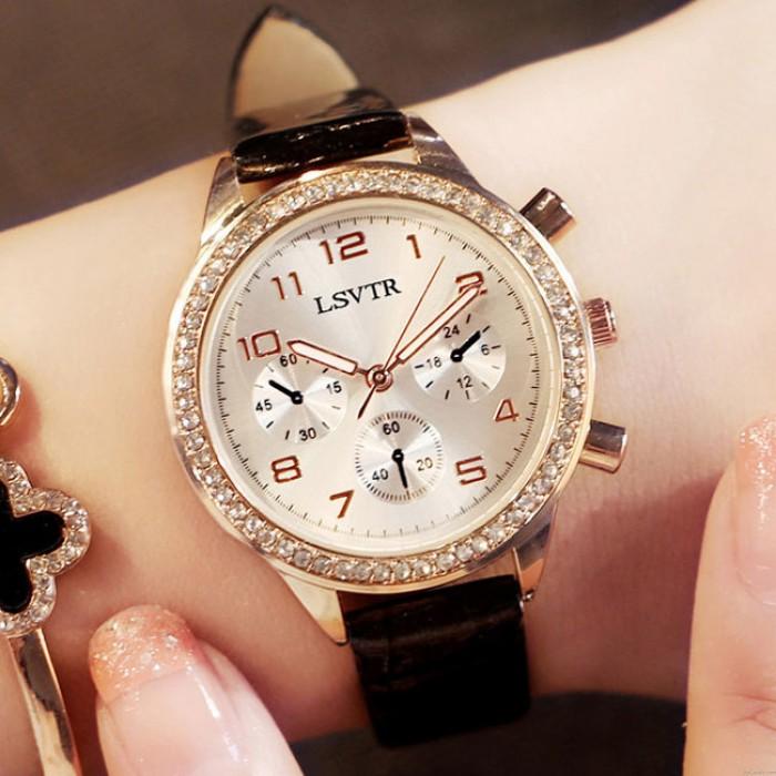 Mode glänzende fließende Diamant römische Ziffern Zifferblatt Quarz Damenuhr