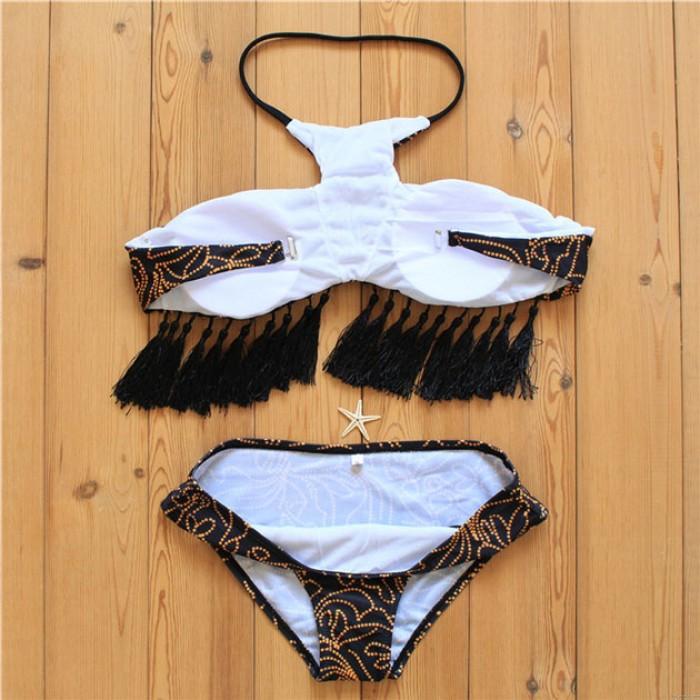 Tassel Bikini Verband Halter Badeanzug Blätter gedruckt Sommer Badeanzug