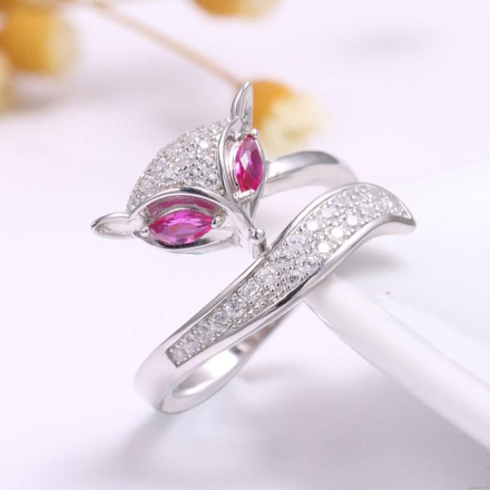 Einzigartiges Design Silber Fox Open Tier Diamant Frauen Ring